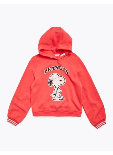 Marks & Spencer Snoopy™ Kapüşonlu Sweatshirt Kırmızı